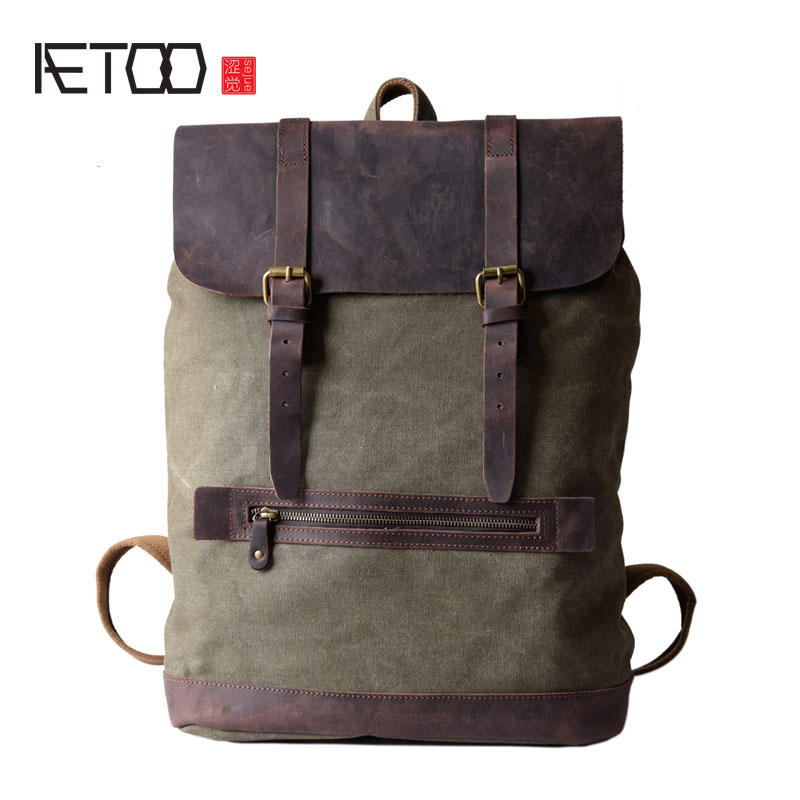 AETOO Men's retro canvas shoulder bag leisure bag travel computer bag canvas stitching leather backpack aetoo canvas shoulder bag men travel bag leisure mountaineering bag with leather backpack