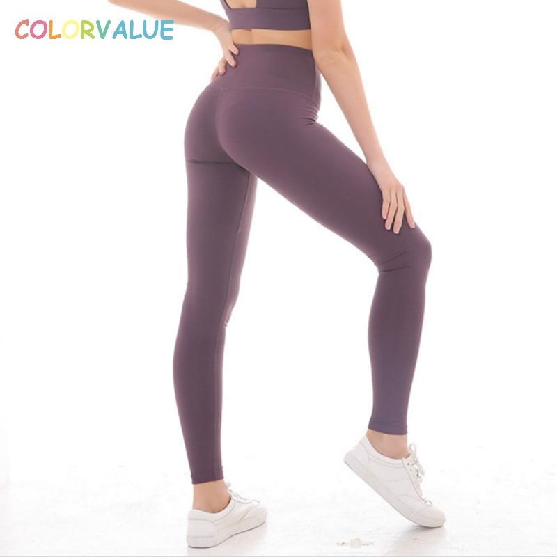 Colorvaluet suave Nylon de alta cintura deporte Yoga Leggings mujeres de alta cintura gimnasio Atlético mallas elásticos Jogger Fitness pantalones XS-L