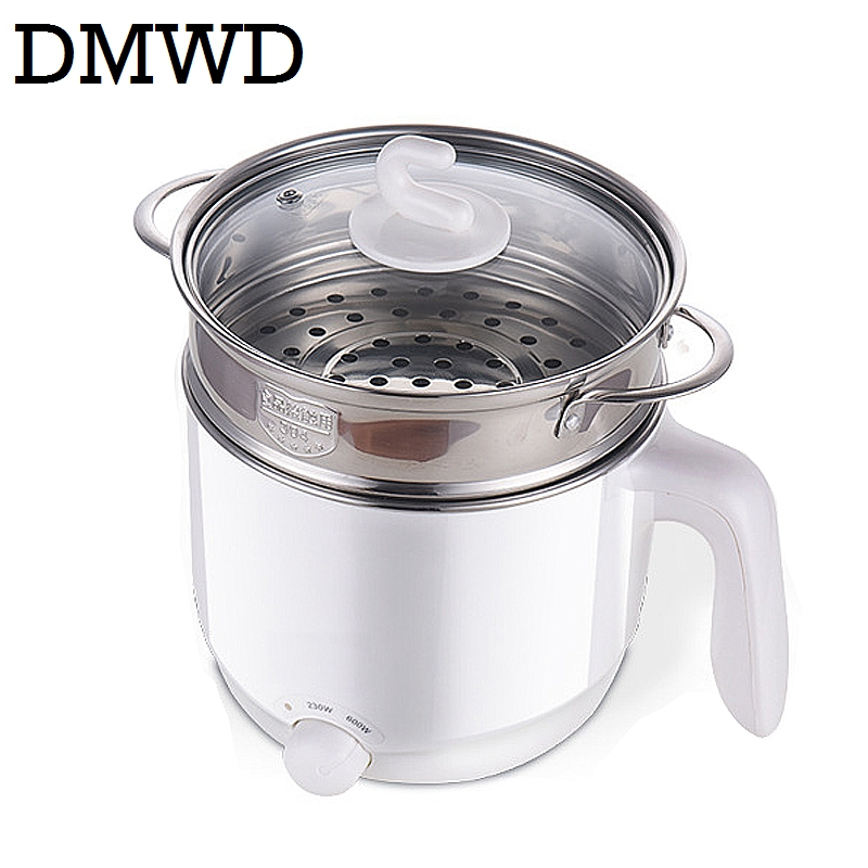 DMWD Multifunction electric Skillet Stainless Steel Hot pot noodles rice Cooker Steamed egg Soup pot MINI heating pan 110V 220V 110v 220v dual voltage travel cooker portable mini electric rice cooking machine hotel student multi stainless steel cookers