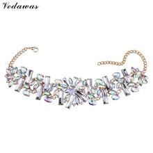 Vedawas Brand 2016 Fashion Cheap Za Flower Crystal Choker Custom Jewelry Women Wedding Party Statement Necklace Wholesale 2625
