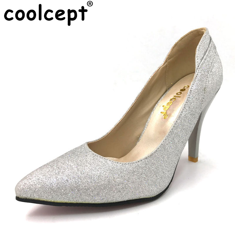 Coolcept women thin high heel shoes stiletto pointed toe brand female heeled sexy pumps heels shoes plus big size 30-50 P16617 size 32 44 women stiletto high heel shoes pointed toe sexy quality brand wedding fashion heeled sexy pumps heels shoes p16661