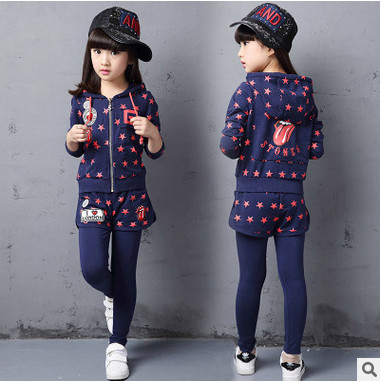 Retail Kids Girls leisure suit children Autumn big virgin girl child spell color long-sleeved T-shirt + trousers 3-12 years 3 [free shipping] 2015 new arrival fashion female 1 4 years child love baby cashmere long sleeved jacket trousers leisure suit