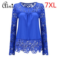 Plus Size 6XL 7XL Womens Tops And Blouses Chiffon Shirts Long Sleeve Tops Lace Blouses Hollow
