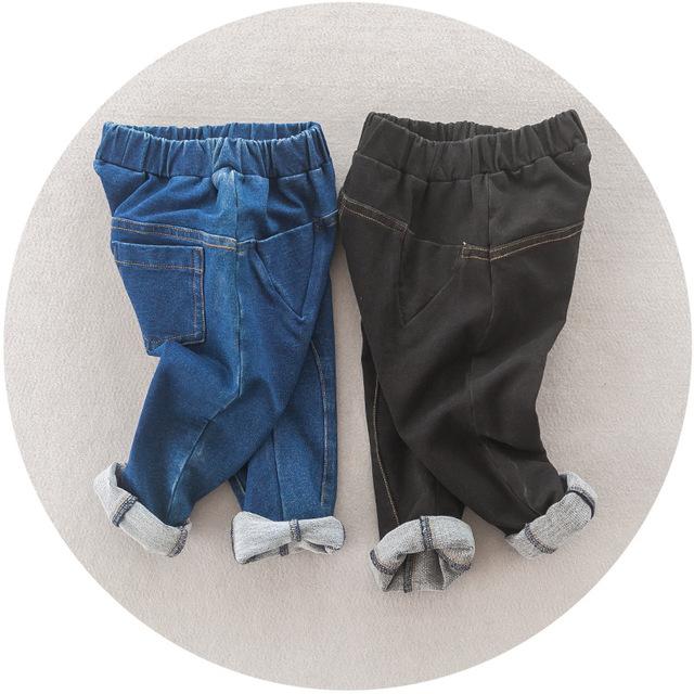 Atacado novo 2016 crianças calças Quentes de outono e inverno bebê meninos e meninas de cor Pura calças de cowboy