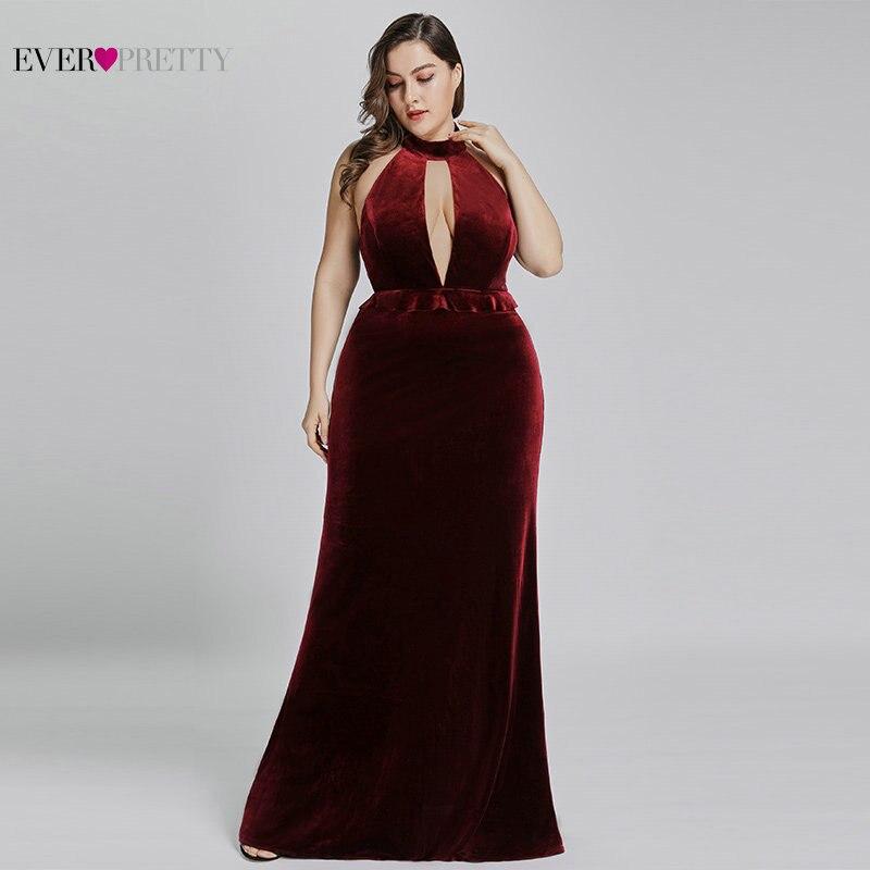 2019 New Year Sexy Velvet Long Evening Dresses Ever Pretty EP07180 Halter V Neck Velour Christmas Evening Dresses Ruffles Gowns