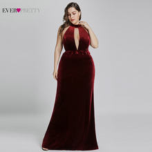 3316ee873c40 2019 New Year Sexy Velvet Long Evening Dresses Ever Pretty EP07180 Halter V  Neck Velour Christmas