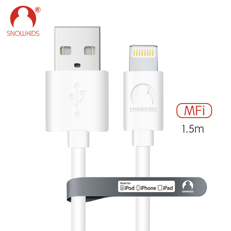 Snowkids 1.5m MFi Certified Cable for iPhone X 8 7 6 5 plus ipad mini/air Upto iOS12