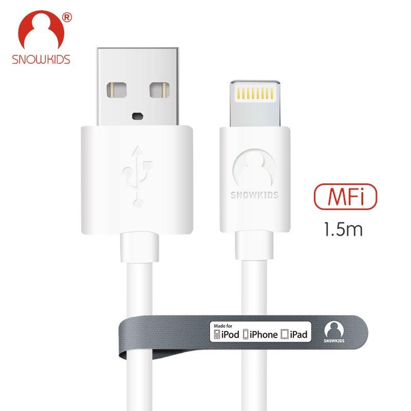 Snowkids 1.5m MFi certified cable for iphone SE 5C 5S 6 6S 7 8 X plus ipad mini/air iOS11