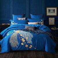 Svetanya с вышивкой павлина из египетского хлопка Постельное бельё Queen King Размеры плоским простыня наволочки Стёганое одеяло крышка набор сини...
