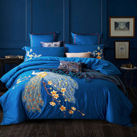 Svetanya Peacock Embroidered Egyptian Cotton Bedding Sets Queen King Size flat Bedsheet Pillowcases Quilt Cover Set Blue Red