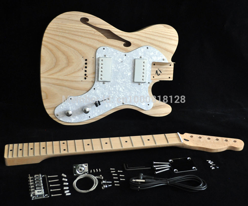 DIY Electric Guitar Kit Vintage '72 TL Thinline Guitar Semi-Hollow Ash Body With F Holes Maple Neck 21 FretsTruss Rod adjust(China)