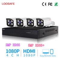 LOOSAFE POE Surveillance Cameras System CCTV Security Camera 4CH 1080P HDMI CCTV DVR 4PCS 2 0