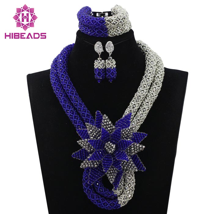 Latest Royal Blue/Silver Beauty Jewelry Set African Bride Crystal Floral Costume Necklace Set Flower Brooch Free Shipping WD351 все цены