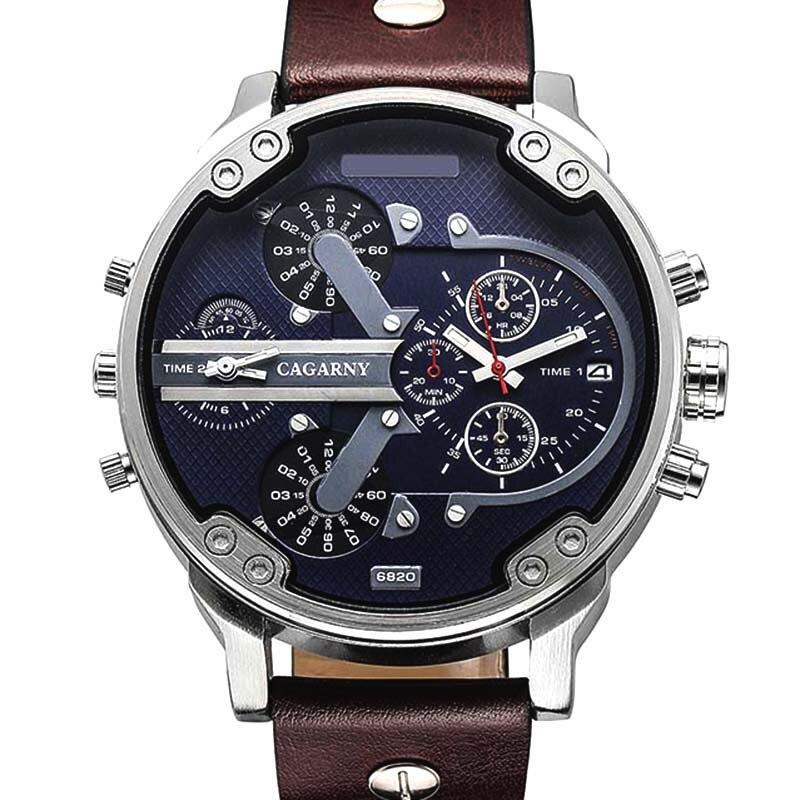 Luxo Marca Men Quartz Relógio de Pulso Duplo Movimento do Relógio Desportivo CAGARNY Homem Relógios Casuais Relogio Masculino Relojes Homens Relógio