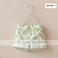 6718 New 2014 Summer Fashion Baby Girls Floral Shorts Whiter Green Flowers Kids Shorts Cotton Children