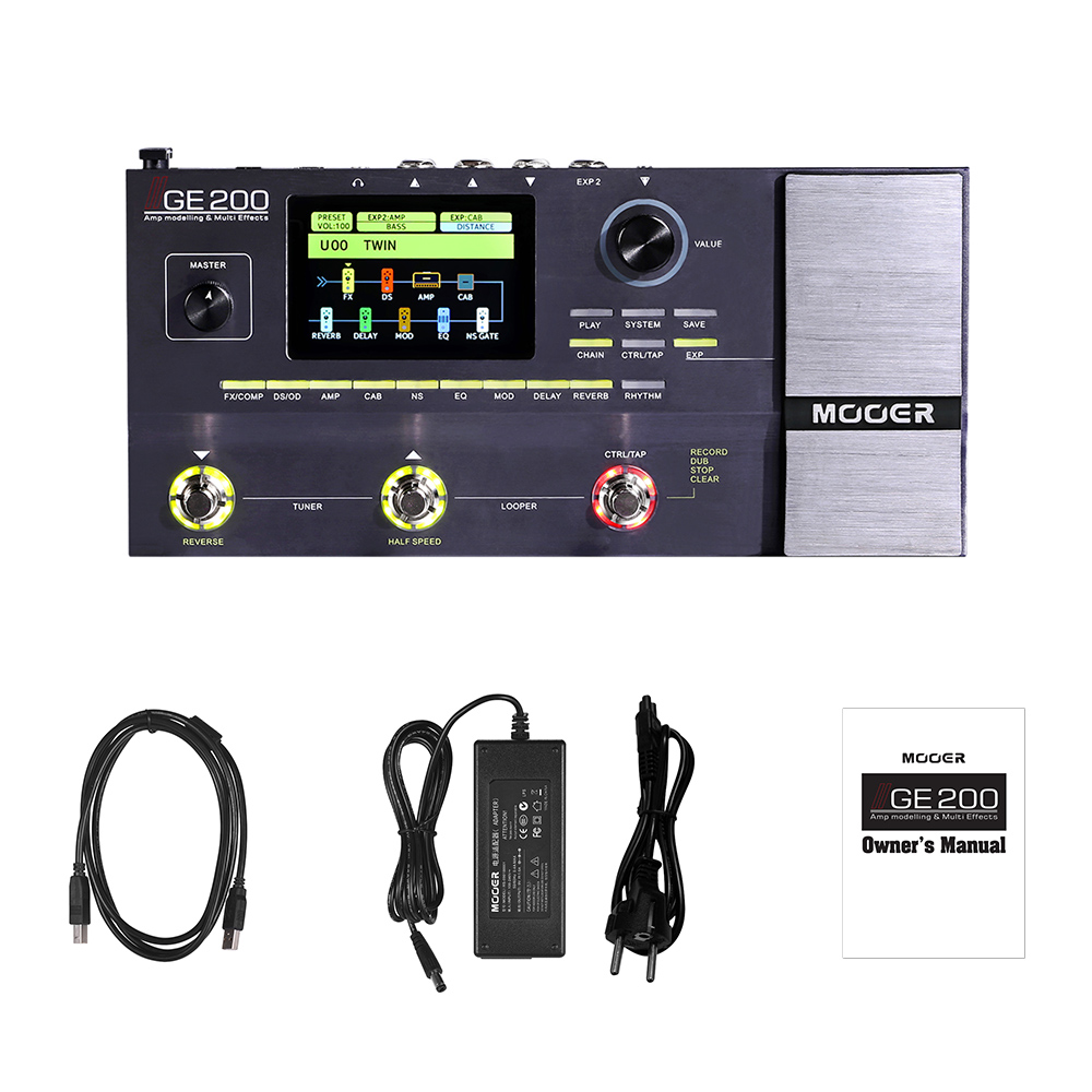 MOOER GE200 Guitar Effect Pedal Amp Modelling Multi Effects Pedal 55 Amplifier Models 70 Effects 52s
