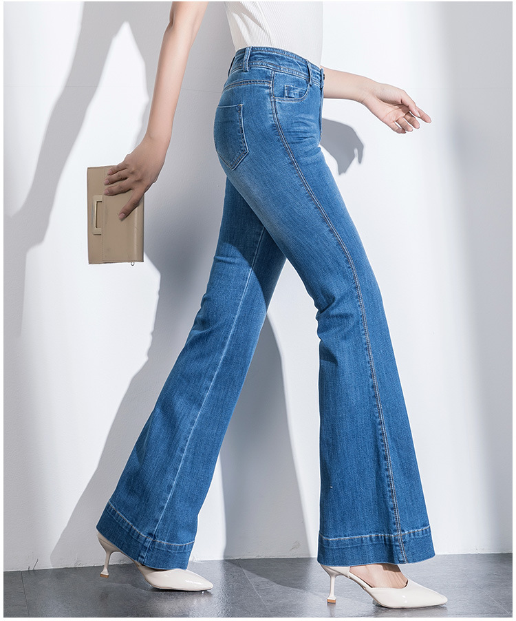 Stretch Flared Jeans Women's Boot Cut Jeans Girls Bell-bottom trousers High Waist Flares Pants High Quality