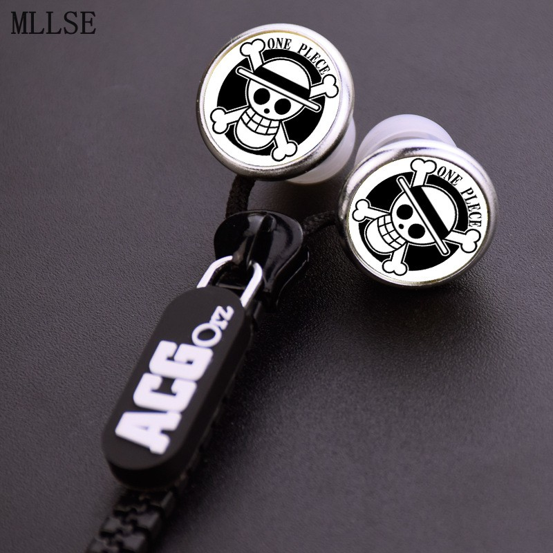 MLLSE Anime One Piece Luffy Pirates Skull Zipper Cable Earphone Wired Stereo In-ear Earbuds Earphones Headset for Iphone Samsung mllse anime fairy tail cartoon in ear earphone portable aux wired stereo earbuds sport mic headset for iphone samsung xiaomi mp3