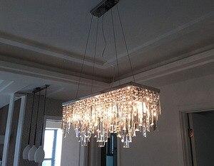 Image 3 - Modern Chinese simple fashion creative rectangular K9 crystal LED chandelier bar restaurant lighting Ceiling Lamp LED Fixture