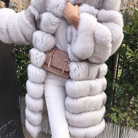 90cm Removable Real Fur Coat Detachable Style Long Sleeve Natural Blue Fox Fur Coat Women Winter Fur Jacket Long Luxury Coat