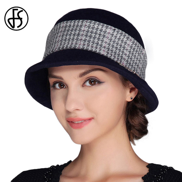 FS Elegante Chapéus Para Mulheres Aba Larga chapéu de Feltro Fedora Lã  Xadrez Inverno Fedoras Feminino 43ee9597f64