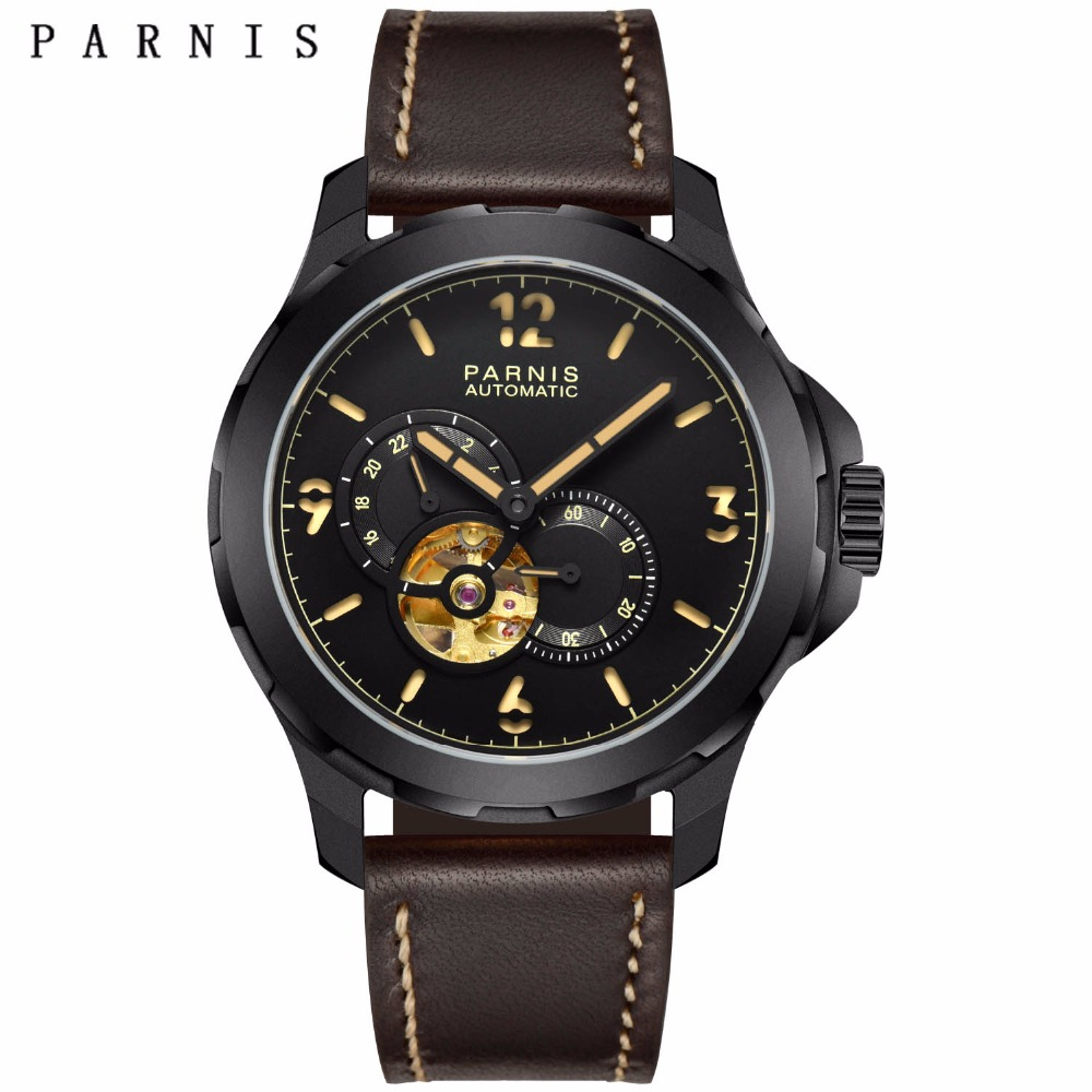 Sale Mechanical Watch Relojes Parnis 44mm Leather Tourbillon Automatic Watch Men Date Waterproof Military Men Wrist Watch цена и фото
