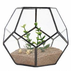 Gorąca sprzedaż czarne szkło Pentagon geometryczne Terrarium pojemnik parapet okienny kwiat ozdobny doniczka balkon sadzarka Diy pudełko wystawowe w Doniczki i skrzynki do kwiatów od Dom i ogród na