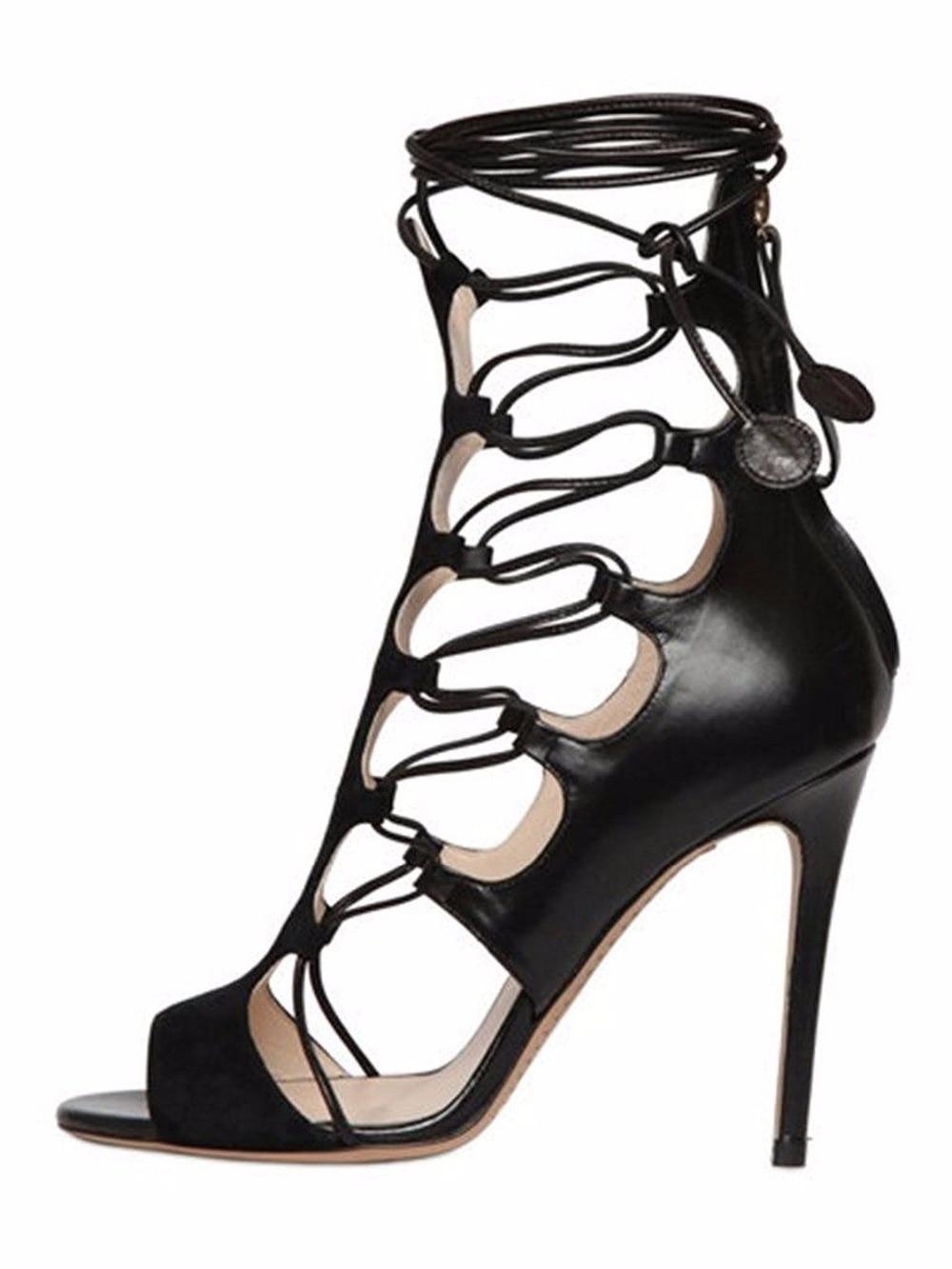 Inisastyle Stiletto High heel solid Women's Shoe lace up peep toe cross-tied sandalia backstrap cutouts rome pumps big size 4-15