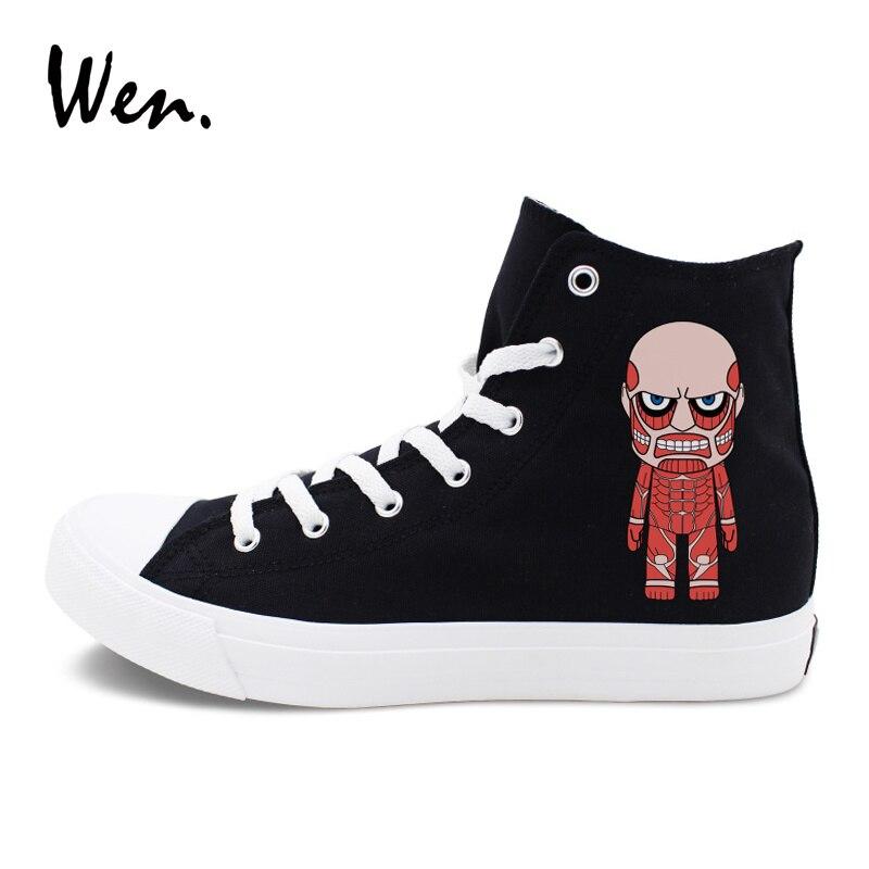 Wen Anime Design High Top Canvas Shoes Men Women Attack on Titan Sport Sneakers White Bl ...