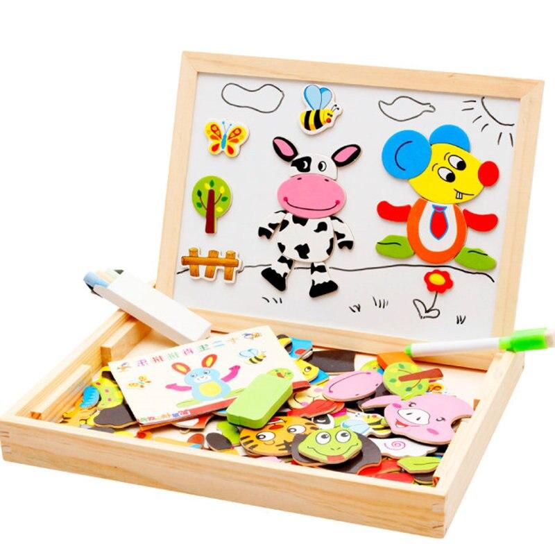 Baby spielzeug Bauernhof Dschungel Tier Holz Magnetische Multifunktions Pädagogisches Kinder Kinder Jigsaw Puzzle Zeichnung Bord Holz Spielzeug