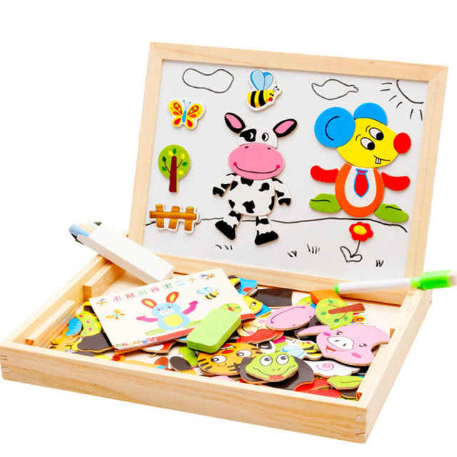 Baby toy Farm Jungle Animal Wooden Magnetic Multifunctional Educational Children Kids Jigsaw Puzzle Drawing Board Wooden Toy