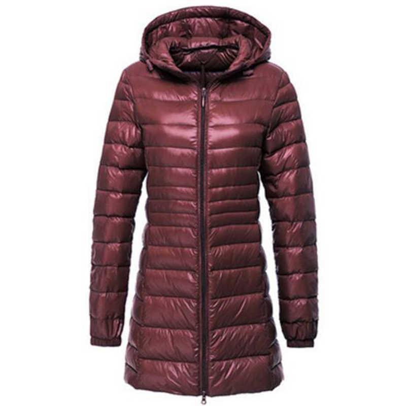 Rihschpiece 2018 Molla Più Il Formato 7XL Ultra Leggero Anatra Giù Donne Giacca Cappotto Con Cappuccio Lungo Puffer Inverno Giacche Nere RZF1454