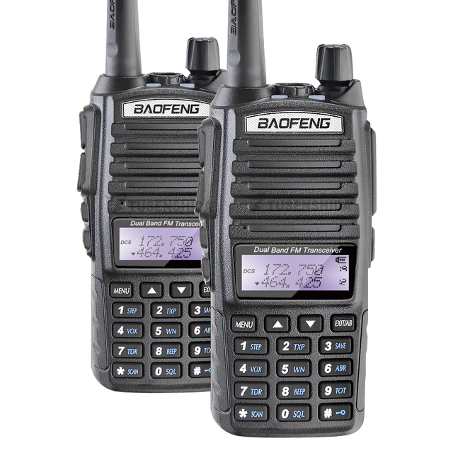 100% baofeng fábrica autorizada da marca new promotion 2 pçs/lote baofeng uv-82 dual band 5 w walkie talkie