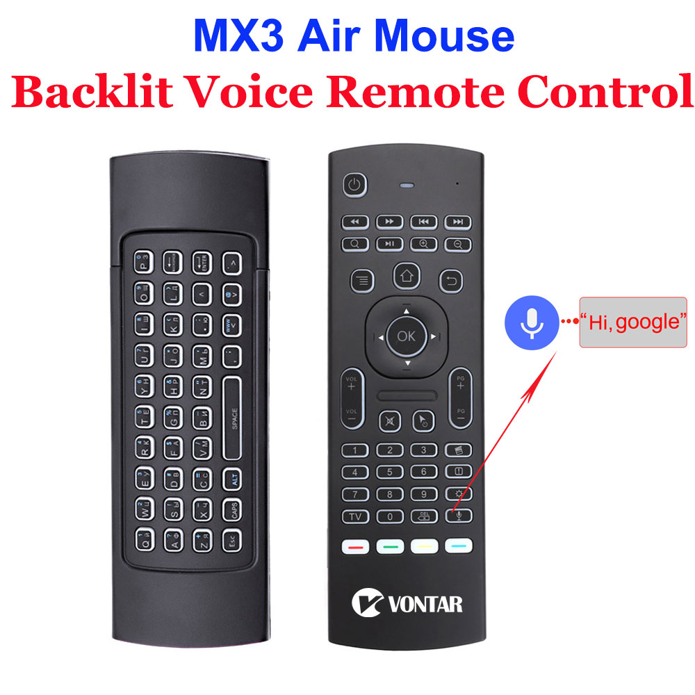 MX3 Air Mouse 2.4G Wireless Keyboard Voice Remote Control Backlit IR Learning Optional For Android TV Box T9 H96 Max X96 Mini