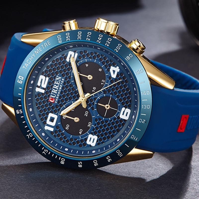 2017 New CURREN Brand Luxury Men Sports Watches Silicone Men Quartz Military Army Wristwatches,Sub-dial Decor Relogio Masculino