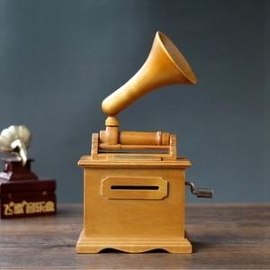 Image 2 - Горячие DIY бумажная лента музыкальные коробки деревянный ручной фонограф музыкальная шкатулка деревянные ремесла Ретро подарок на день рождения винтажный дом