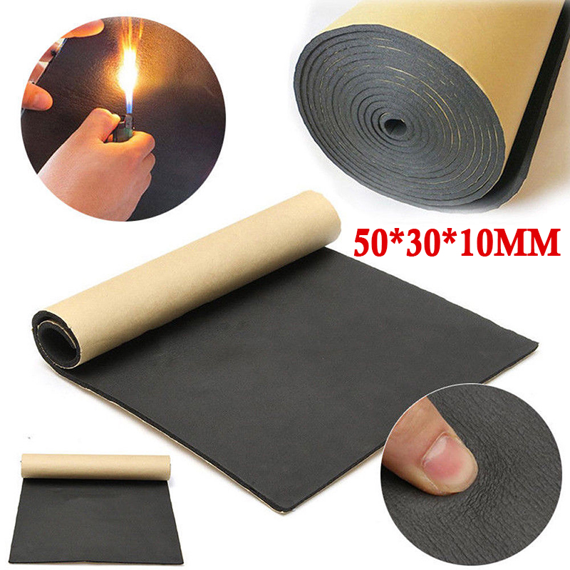 30*50cm 10mm Car Sound Insulation Rubber Foam Pad Soundproofing Auto Noise Deadener Isolation Thermal Insulator