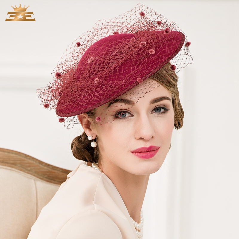 Lady New Female Nobles Hat Pure Wool Vintage Wine Red Fedoras Cap Women British Banquet Party Cap B-4782