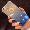Gradiente colorido caso brilhando para o iphone 6 6 s 6 plus 2 em 1 tampa traseira glitter diamante Suave TPU silicone caso