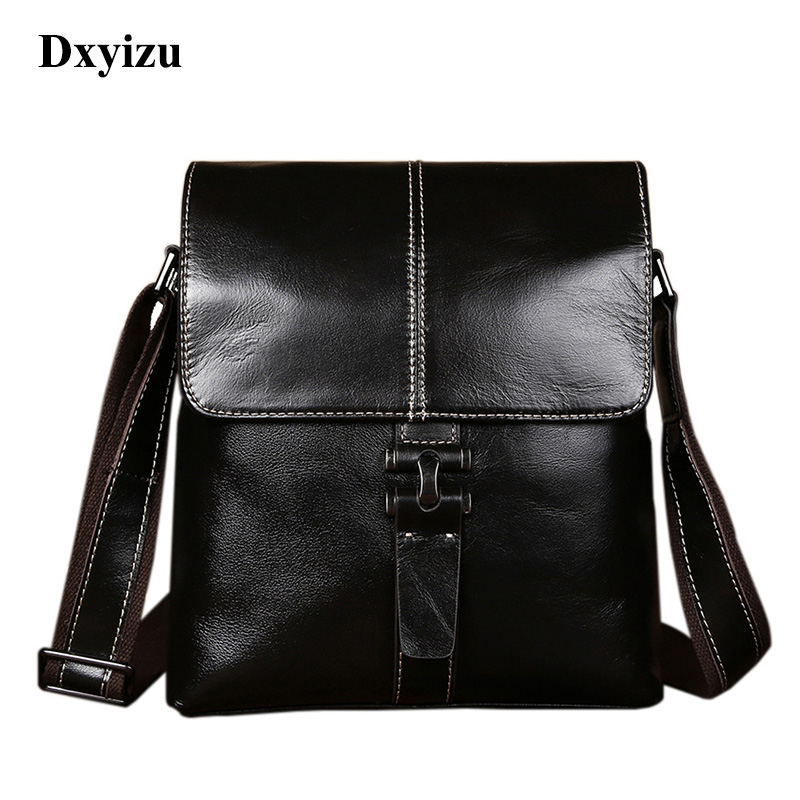 Hot Sale High Quality Genuine Leather Men Shoulder Bags Fashion Black Business Notebook Laptop Messenger Bags