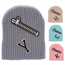 Europe and the United States New Boys Girls wool Knit Hat hot zipper Labeling letters Autumn Winter caps