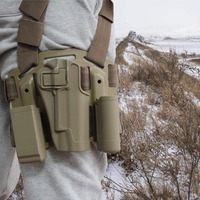 Tactical Right Hand Holster Military Gun Belt Colt 1911 Holster Belt w/ Paddle For Hunting RL31 0004PTan