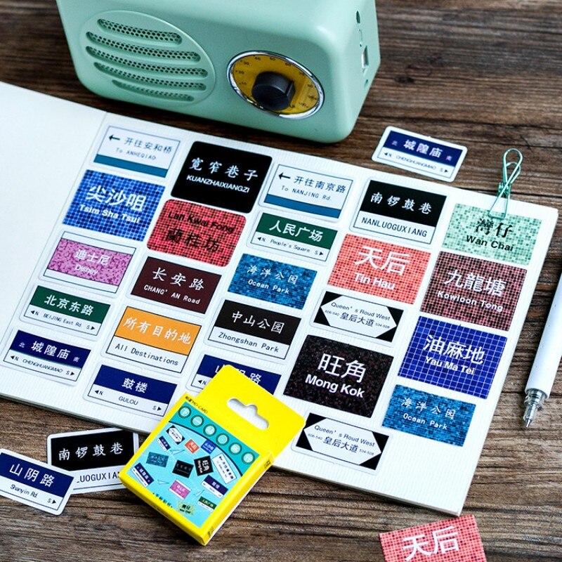 45 pcs /box travel sign landmark paper stickers diy adhesive paper Scrapbook Notebook decoration sticker stationery kids gifts