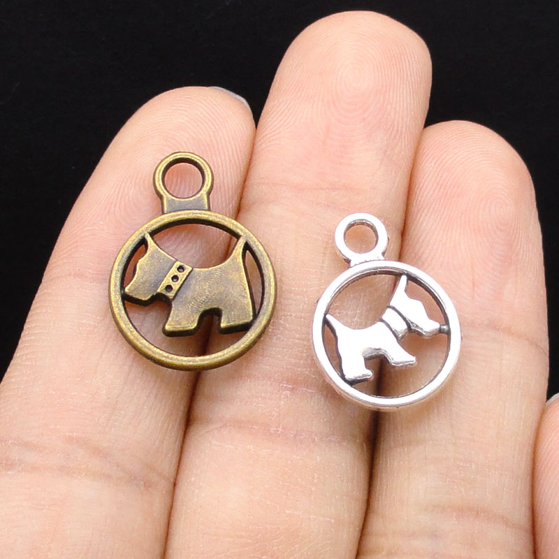 70pcs-Antique Silver / Bronze Dog Charms Pendant 2 Sided thumbnail