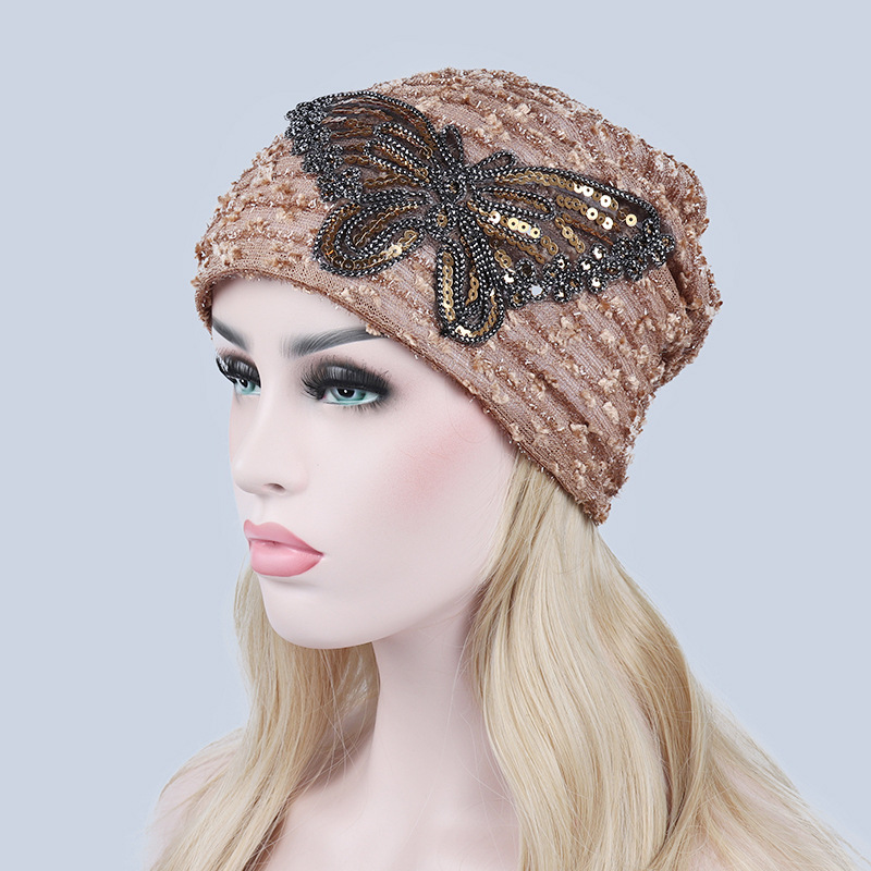 Women Cap Autumn Winter Skullies Solid Color Women's Hat Lace Beanie Butterfly Warm Hats For Women Gorro Feminino Beanies skullies
