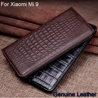 Luxury Genuine Leather Crocodile Pattern Cases For Xiaomi Mi 9 Leather Protection Shell Slim Back Cover For Xiaomi Mi 9 Coque
