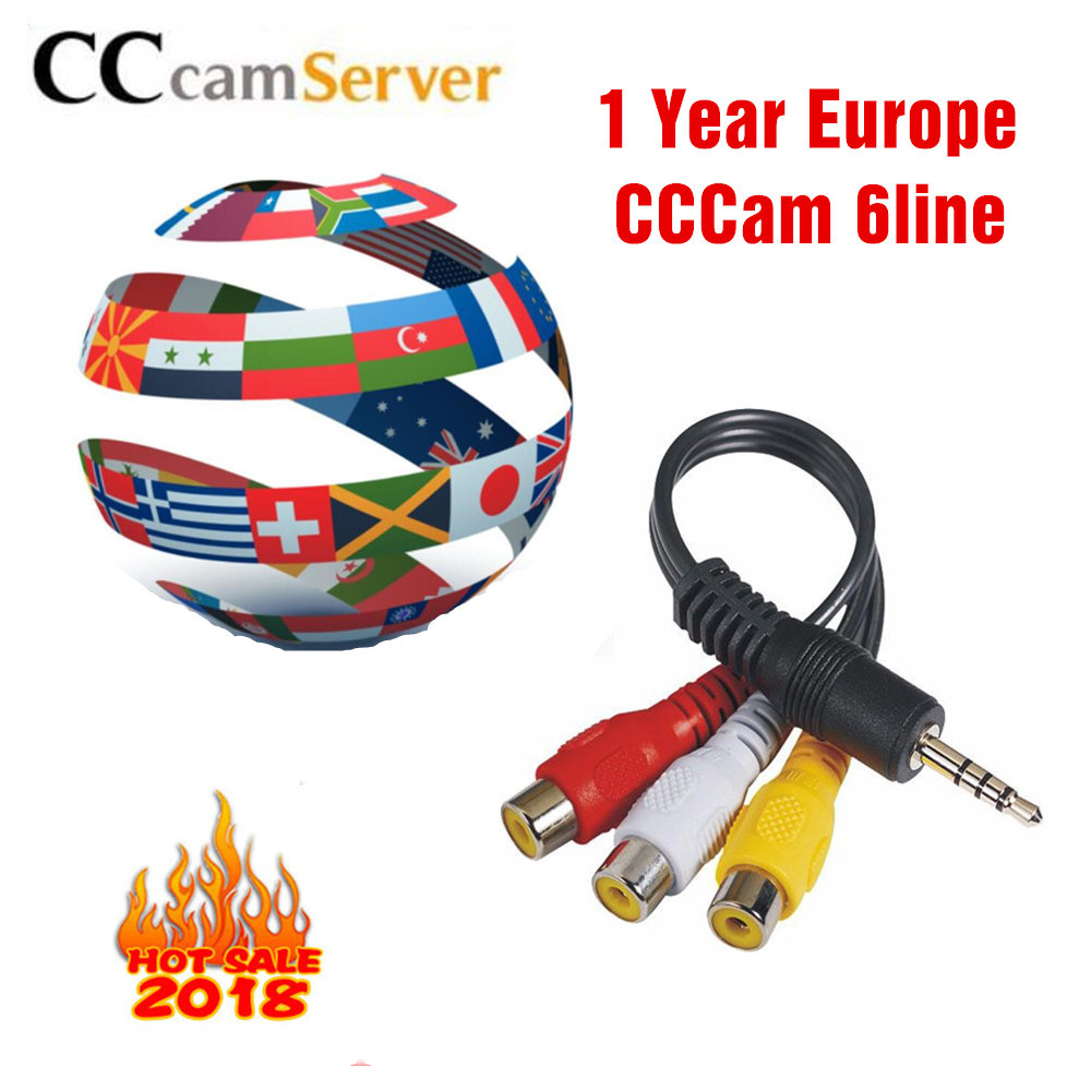 Europe HD cable 1 Year CCCams for Satellite tv Receiver 6 Clines WIFI FULL HD DVB-S2 Support Spain cline ccam Server