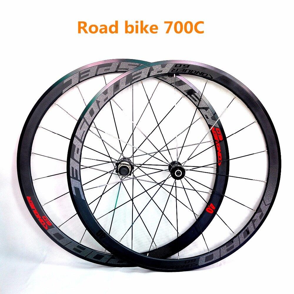 C6.0 super-léger aluminium quatre-perlin plat rayons racing 40 jantes route vélo roue 700C avec anti-curseur