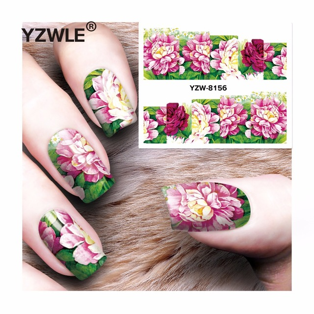 Yzwle 1 sheet diy decals nails art water transfer printing stickers accessories for manicure salon yzw