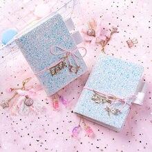 Cuaderno planificador de cristal brillante con diamantes azules, estilo ins, papelería de amor, vendaje A5 A6, diario, Agenda, Bloc de notas, regalo 2020